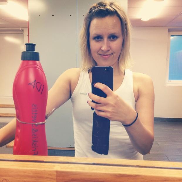 Dagens gym-selfie.  Före intervallerna.